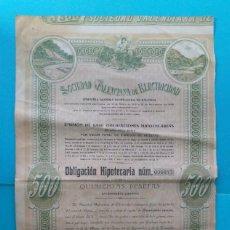 Coleccionismo Acciones Españolas: OBLIGACIÓN HIPOTECARIA DE LA SOCIEDAD VALENCIANA DE ELECTRICIDAD 1919. Lote 221162692
