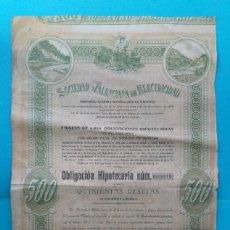 Coleccionismo Acciones Españolas: OBLIGACIÓN HIPOTECARIA DE LA SOCIEDAD VALENCIANA DE ELECTRICIDAD 1919. Lote 221162762