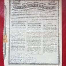 Coleccionismo Acciones Españolas: ACCION FERROCARRIL DE ZARAGOZA AL MEDITERRANEO. LÍNEA PUEBLA DE HIJAR A SAN CARLOS DE LA RÁPITA. Lote 221165982