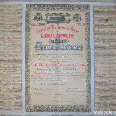 Collectionnisme Actions Espagne: SOCIEDAD TRANVÍA DE VAPOR DEL LITORAL ASTURIANO. AVILÉS-ASTURIAS. 1893. Lote 221263253