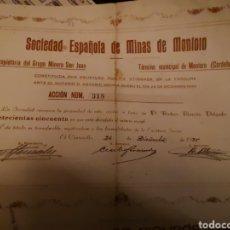 Coleccionismo Acciones Españolas: A 2. ACCIÓN. SOCIEDAD ESPAÑOLA DE MINAS DE MONIORO. CORDOBA 1935. Lote 221344530