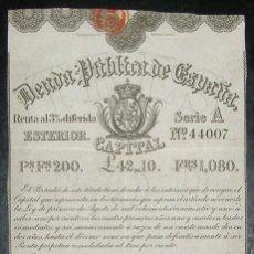 Collectionnisme Actions Espagne: TÍTULO DE DEUDA PÚBLICA DE ESPAÑA, MADRID (1851). FIRMADO POR BRAVO MURILLO. Lote 221364060
