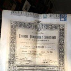 Coleccionismo Acciones Españolas: CARTAGENA MADRID COMPAÑIA ENSANCHE Y SANEAMIENTO CARTAGENA 1897 ( VER FIRMAS ). Lote 221530028