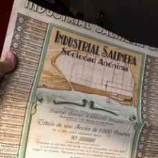 Coleccionismo Acciones Españolas: SAL SALINAS INDUSTRIAL SALINERA VALENCIA 1932. Lote 221530423