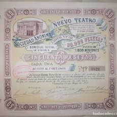 Collectionnisme Actions Espagne: CASTILLA Y LEÓN. ACCIÓN DE 50 PESETAS DE LA SOCIEDAD ANÓNIMA NUEVO TEATRO. ZAMORA. 1915. Lote 221575922
