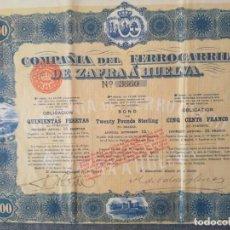 Coleccionismo Acciones Españolas: ACCION- OBLIGACION DE 500 PTAS DE COMPAÑIA DEL FERROCARRIL DE ZAFRA A HUESCA 1899. Lote 222018410