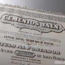 Coleccionismo Acciones Españolas: CEMENTOS JAEN S.A. ACCION DE 1000 PESETAS CON 40 CUPONES. 1958.. Lote 196018615