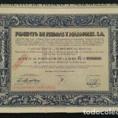 Coleccionismo Acciones Españolas: ACCIÓN ANTIGUA: FOMENTO DE PIEDRAS Y MÁRMOLES S.A. DE 1950. Lote 222672520