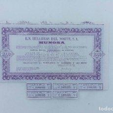 Collectionnisme Actions Espagne: HULLERAS DE NORTE, S.A. HUNOSA (OVIEDO, ASTURIAS). OBLIGACIÓN AL PORTADOR DE 1000 PTAS. 20 MAYO 1969. Lote 222811591
