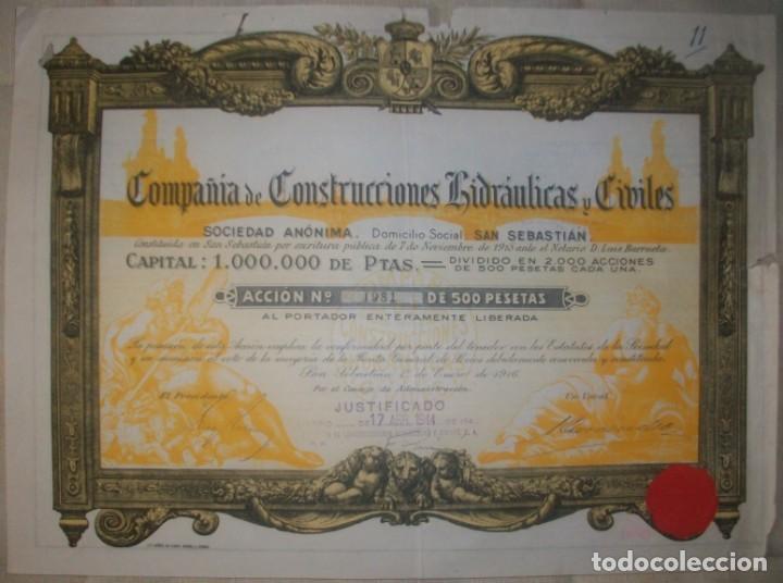 PÍAS VASCO/EUSKADI. COMPAÑÍA DE CONSTRUCCIONES HIDRÁULICAS Y CIVILES. SAN SEBASTIÁN.1916. (Coleccionismo - Acciones Españolas)