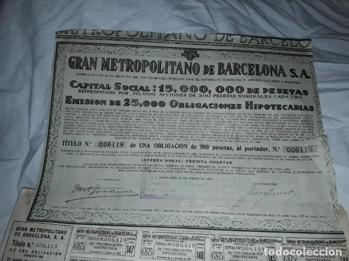 GRAN METROPOLITANO DE BARCELONA OBLIGACIÓN 006119 AÑO 1925 (Coleccionismo - Acciones Españolas)