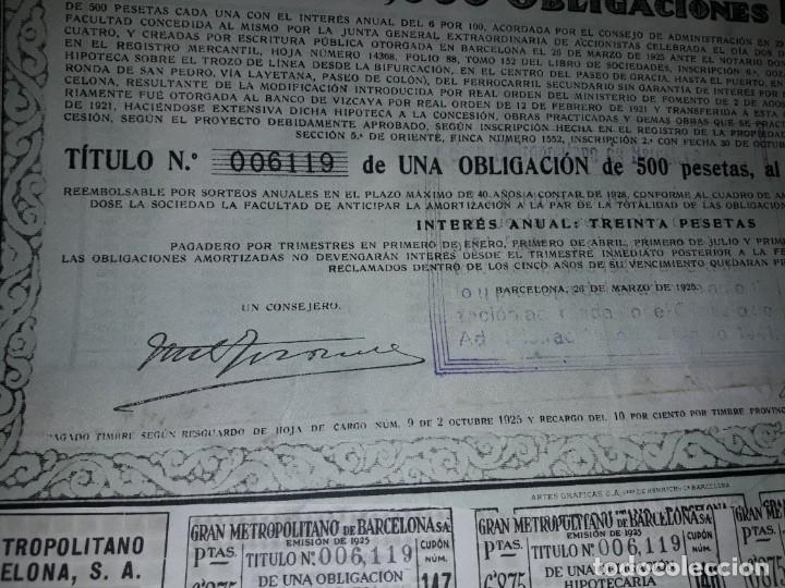 Coleccionismo Acciones Españolas: Gran Metropolitano de Barcelona obligación 006119 año 1925 - Foto 3 - 223874703