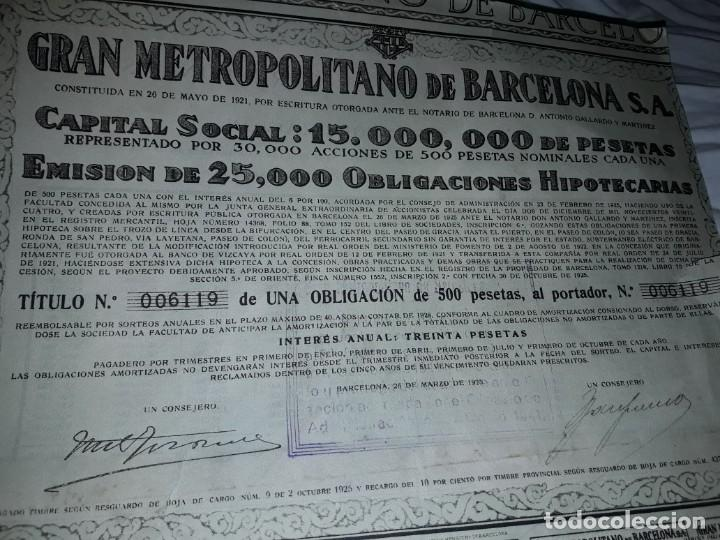 Coleccionismo Acciones Españolas: Gran Metropolitano de Barcelona obligación 006119 año 1925 - Foto 4 - 223874703