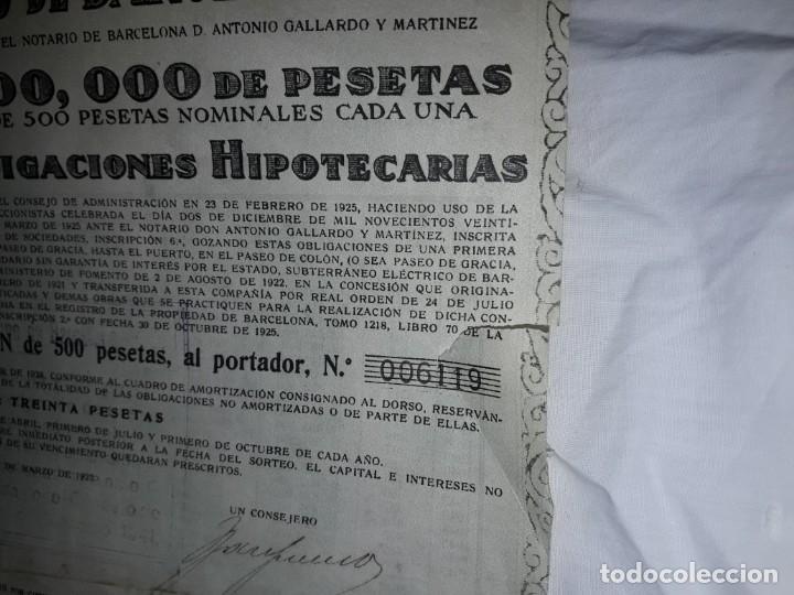 Coleccionismo Acciones Españolas: Gran Metropolitano de Barcelona obligación 006119 año 1925 - Foto 5 - 223874703