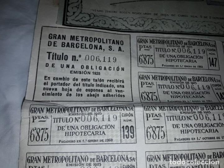 Coleccionismo Acciones Españolas: Gran Metropolitano de Barcelona obligación 006119 año 1925 - Foto 7 - 223874703