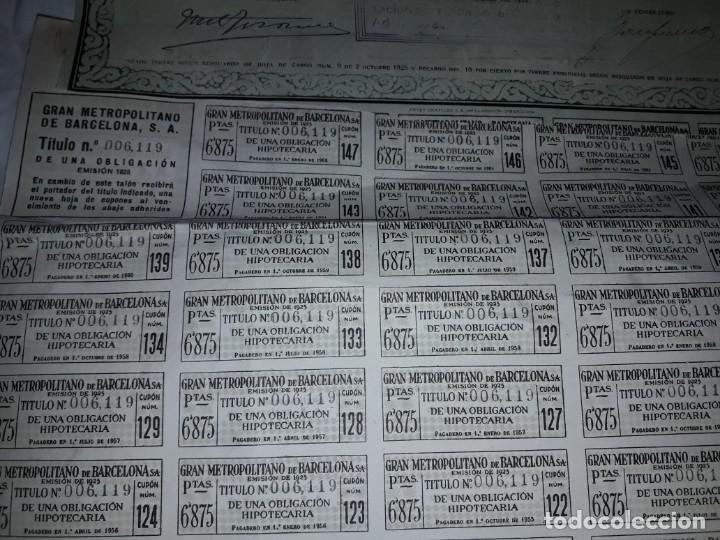 Coleccionismo Acciones Españolas: Gran Metropolitano de Barcelona obligación 006119 año 1925 - Foto 8 - 223874703