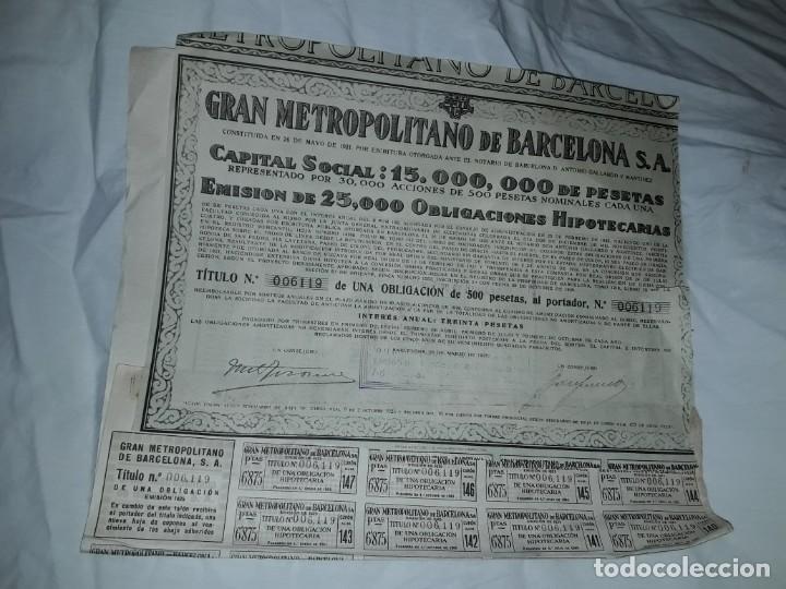 Coleccionismo Acciones Españolas: Gran Metropolitano de Barcelona obligación 006119 año 1925 - Foto 9 - 223874703