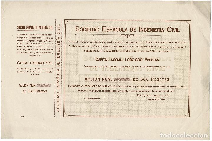 ACCIÓN.- SOCIEDAD ESPAÑOLA DE INGENIERÍA CIVIL. MADRID 1927. (Coleccionismo - Acciones Españolas)