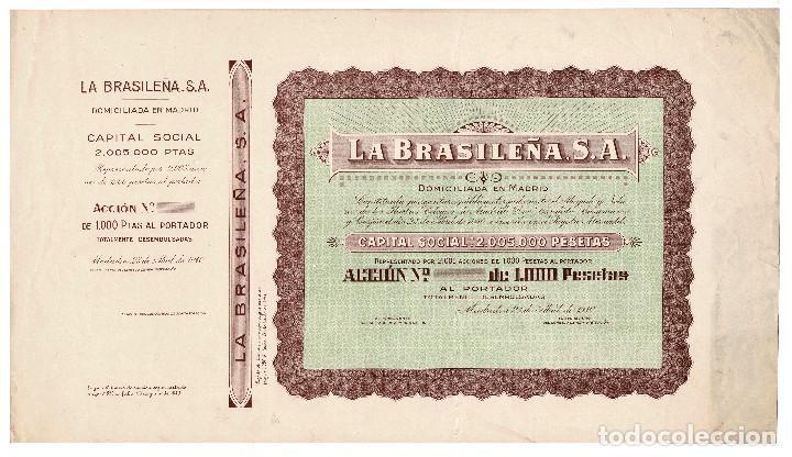 ACCIÓN.- LA BRASILEÑA S.A. MADRID 1940. (Coleccionismo - Acciones Españolas)