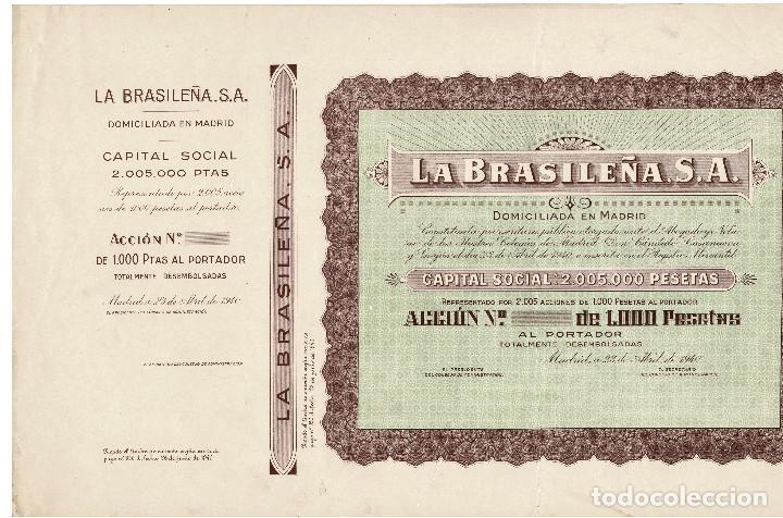 Coleccionismo Acciones Españolas: ACCIÓN.- LA BRASILEÑA S.A. MADRID 1940. - Foto 2 - 223919030