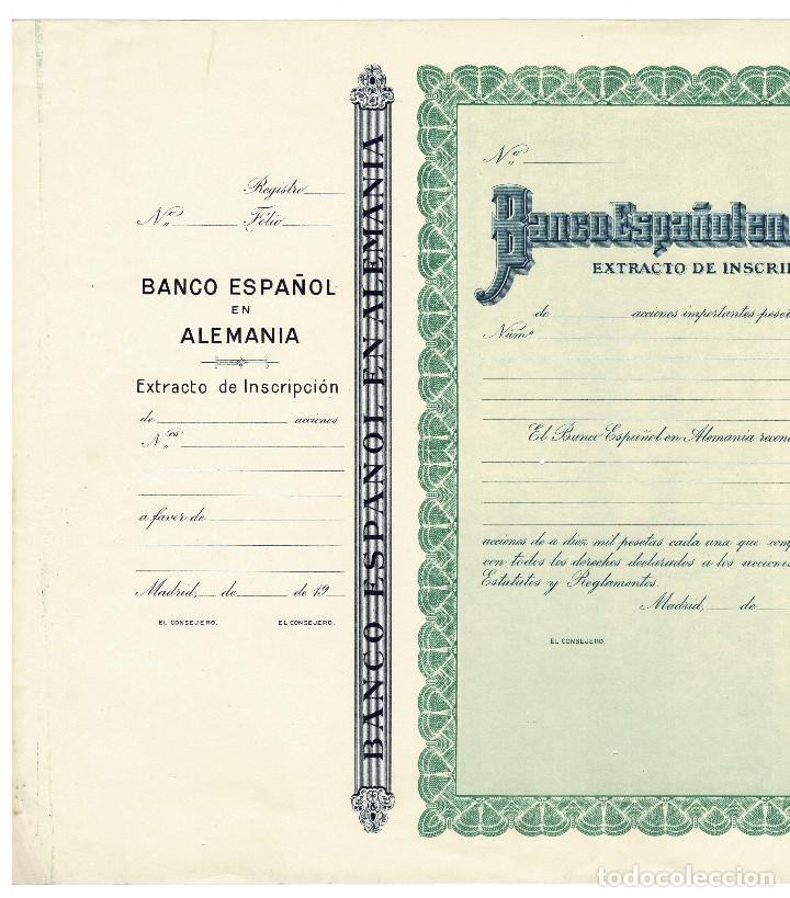 Coleccionismo Acciones Españolas: ACCIÓN.- BANCO ESPAÑOLES EN ALEMANIA. MADRID. - Foto 2 - 223919085