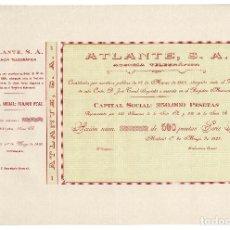 Coleccionismo Acciones Españolas: ACCIÓN.- ATLANTE AGENCIA TELEGRÁFICA, MADRID 1928.. Lote 223919571