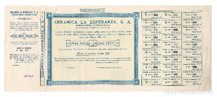 ACCIÓN.- CERÁMICA LA ESPERANZA, S.A. ALGECIRAS.(CÁDIZ). 1947. (Coleccionismo - Acciones Españolas)