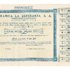 Coleccionismo Acciones Españolas: ACCIÓN.- CERÁMICA LA ESPERANZA, S.A. ALGECIRAS.(CÁDIZ). 1947.. Lote 223921386