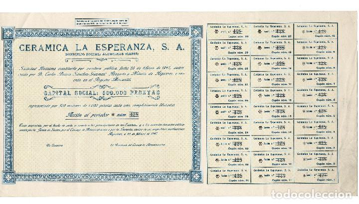 Coleccionismo Acciones Españolas: ACCIÓN.- CERÁMICA LA ESPERANZA, S.A. ALGECIRAS.(CÁDIZ). 1947. - Foto 2 - 223921386