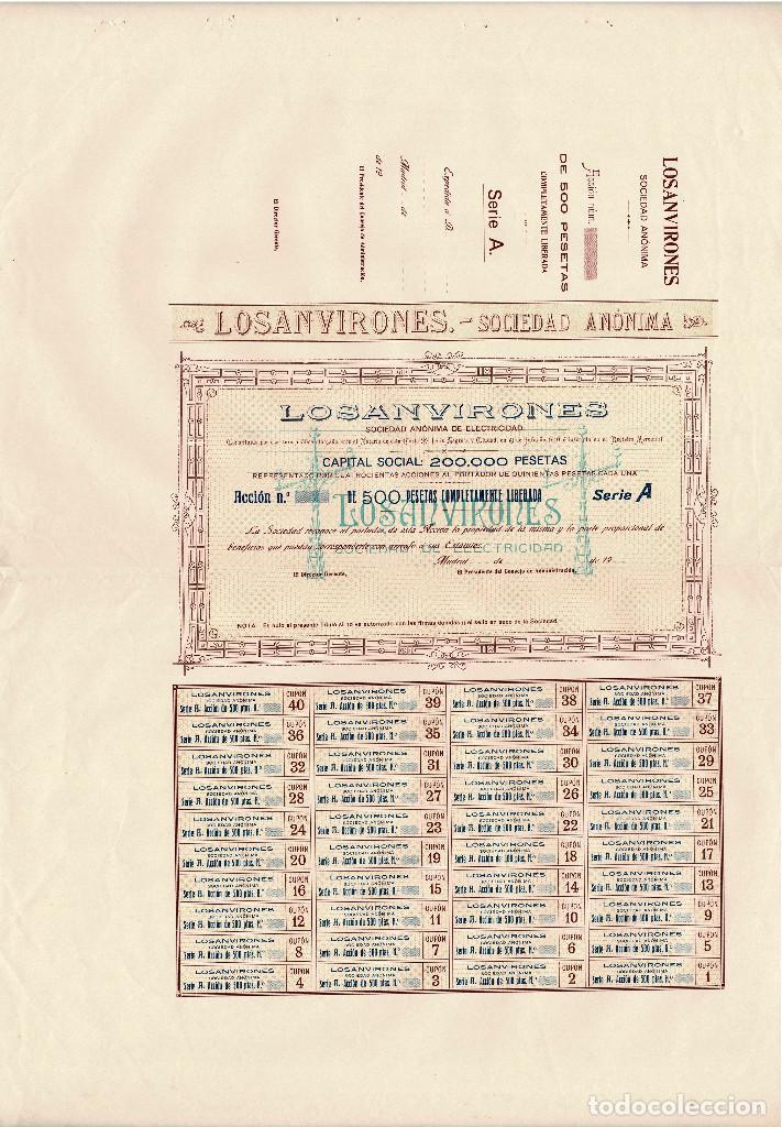 ACCIÓN.- LOSANVIRONES. S.A. SOCIEDAD DE ELECTRICIDAD. MADRID 1910. (Coleccionismo - Acciones Españolas)