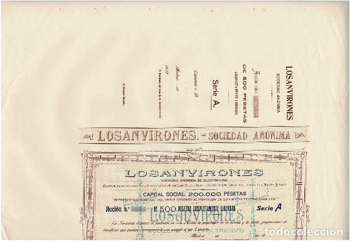 Coleccionismo Acciones Españolas: ACCIÓN.- LOSANVIRONES. S.A. SOCIEDAD DE ELECTRICIDAD. MADRID 1910. - Foto 3 - 223921445