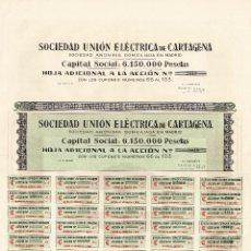 Coleccionismo Acciones Españolas: ACCIÓN.- SOCIEDAD UNIÓN ELÉCTRICA DE CARTAGENA. MADRID.. Lote 223921586