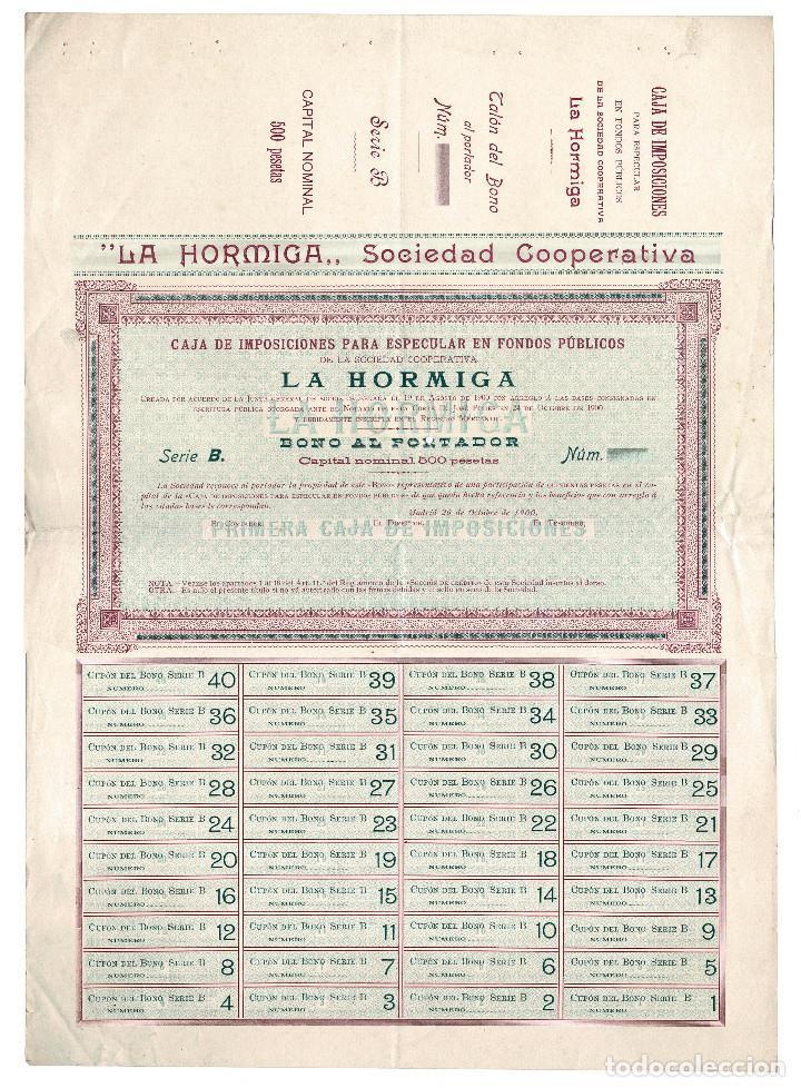 ACCIÓN.- LA HORMIGA. SOCIEDAD COOPERATIVA. MADRID 1900. (Coleccionismo - Acciones Españolas)