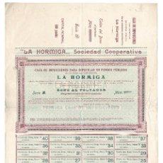 Coleccionismo Acciones Españolas: ACCIÓN.- LA HORMIGA. SOCIEDAD COOPERATIVA. MADRID 1900.. Lote 223921730