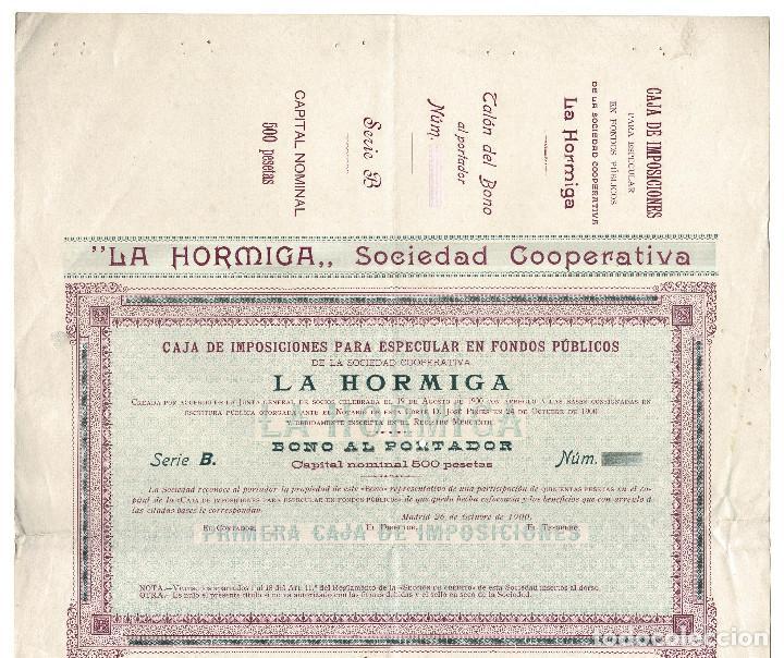 Coleccionismo Acciones Españolas: ACCIÓN.- LA HORMIGA. SOCIEDAD COOPERATIVA. MADRID 1900. - Foto 3 - 223921730