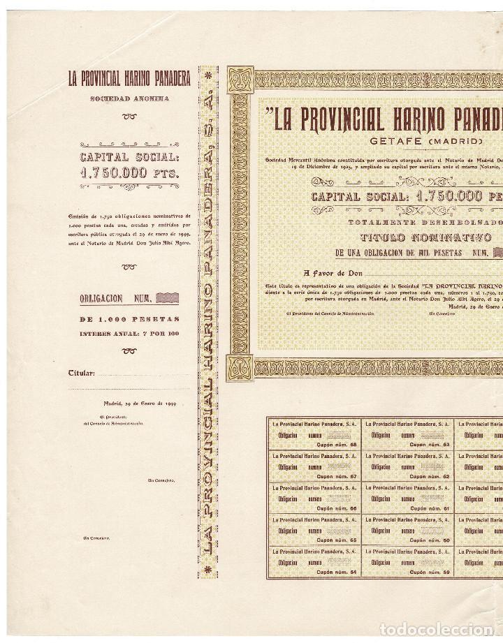 Coleccionismo Acciones Españolas: ACCIÓN, LA PROVINCIAL HARINO PANADERA, S.A. GETAFE.(MADRID). 1949. - Foto 2 - 223922232