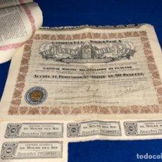 Coleccionismo Acciones Españolas: LOTE DE 15 ACCIONES DE 50 PESETAS DE LAS MINAS DEL RIF AÑO 1928. CON 25 CUPONES CADA ACCION.. Lote 224117687