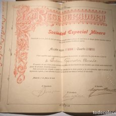 Coleccionismo Acciones Españolas: ACCIÓN Nº350 A FAVOR DE DON JULIAN GONZÁLEZ PARRADO.1906. SOCIEDAD MINERA LA REGENERADORA,1878. Lote 224940090