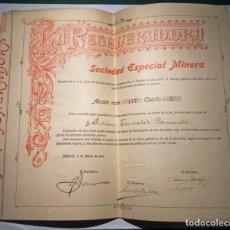 Coleccionismo Acciones Españolas: ACCIÓN Nº147 A FAVOR DE DON JULIAN GONZÁLEZ PARRADO.1906. SOCIEDAD MINERA LA REGENERADORA,1878. Lote 224941103