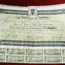 Colecionismo Ações Espanholas: ACCIÓN - LA ELÉCTRICA DE CATALUÑA SOCIEDAD ANÓNIMA - AÑO 1907. Lote 224982020