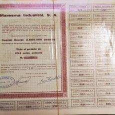 Coleccionismo Acciones Españolas: LOTE ACCION ESPAÑOLA MARESMA INDUSTRIAL SA 1958 218 - 257. Lote 225174755