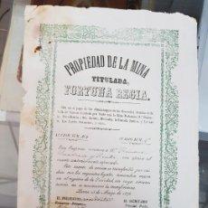 Coleccionismo Acciones Españolas: ANTIGUA ACCION MINA FORTUNA REGIA HERRERIAS CUEVAS ALMERIA LORCA MURCIA 1876. Lote 225261340