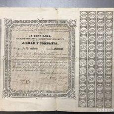 Coleccionismo Acciones Españolas: VALENCIA - LA CONFIANZA, SOCIEDAD MERCANTIL CONSTITUIDAD LEGALMENTE, J. GRAU Y CIA. - AÑO 1866. Lote 225588615