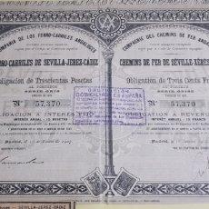 Coleccionismo Acciones Españolas: ACCION FERROCARRILES ANDALUCES. SEVILLA JEREZ CADIZ. MADRID 1907. Lote 225878756