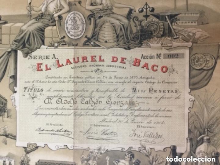 Coleccionismo Acciones Españolas: ACCION DE LA FABRICA DE CERVEZAS EL LAUREL DE BACO 1914 - ACCION NUMERO 002 - SERIE A - 47x37cm - Foto 2 - 226336162