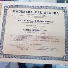 Coleccionismo Acciones Españolas: ACCION EMPRESA MADERERA DEL SEGURA MADRID 1920. Lote 226444685