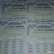 Coleccionismo Acciones Españolas: LOTE DE 4 ACCIONES DE LA ESPAÑA INDUSTRIAL AÑO 1973 500 PESETAS. Lote 226690835