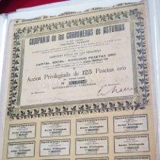 Coleccionismo Acciones Españolas: ACCION MINAS. CARBONERAS DE ASTURIAS Y LEON. SAN SEBASTIÁN 1907. Lote 226988380