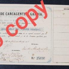 Coleccionismo Acciones Españolas: ACCION PRIMER TRANVIA DE SANGRE DE ESPAÑA. TRANVÍA CARCAGENTE A GANDIA. 1000 REALES. VALENCIA 1861.. Lote 231197755