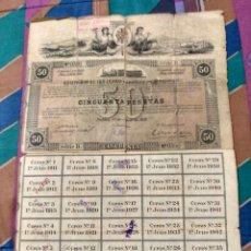 Coleccionismo Acciones Españolas: 1911 COMPAÑIA DE LOS FERROCARRILES DE MALLORCA RARA OBLIGACION 50 PTAS. CON 35 CUPONES. Lote 232133395